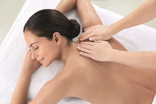 Lady getting back massage